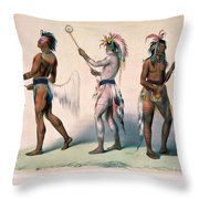 Sioux Lacrosse Players Throw Pillow