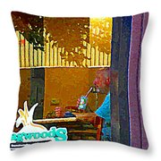 Sipping A Seven Up At Dagwoods Window Seat At The Sandwich Shop Montreal Summer Scene Carole Spandau Throw Pillow