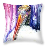 Sir Archibald Woodward Woodstork IIi Throw Pillow