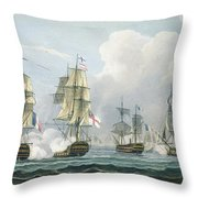 Sir Richard Strachans Action After The Battle Of Trafalgar Throw Pillow by Thomas Whitcombe