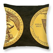 Sisseton Wahpeton Oyate Sioux Tribe Code Talkers Bronze Medal Art Throw Pillow