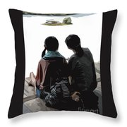 Sisters At The Zen Garden Throw Pillow