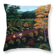 Sister's Autumn Stroll Throw Pillow