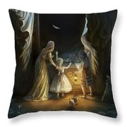 Sisters In The Moonlight Throw Pillow