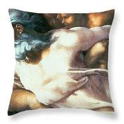 Sistine Chapel Ceiling Creation Of Adam Throw Pillow by Michelangelo Buonarroti