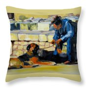 Sitting With A Dog Throw Pillow