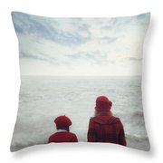 Sitting At The Sea Throw Pillow
