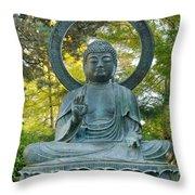 Sitting Bronze Buddha At San Francisco Japanese Garden Throw Pillow