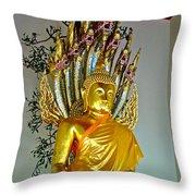 Sitting Buddha In Wat Po In Bangkok-thailand Throw Pillow