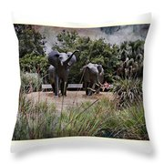 Sitting By The Elephants Throw Pillow