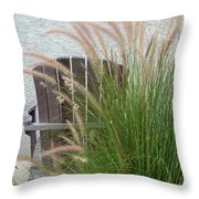 Sitting By The Seawall Throw Pillow