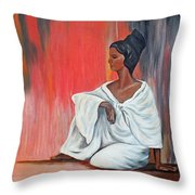 Sitting Lady In White Next To A Red Wall Throw Pillow