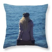 Sitting On Suitcase Throw Pillow by Joana Kruse