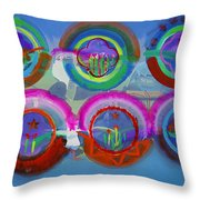Six American Spring Icons Throw Pillow