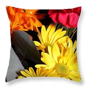 Six Dasies And A Carnation Throw Pillow