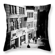 Six O'clock On The Street - Black And White Throw Pillow