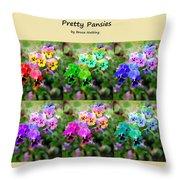 Six Pretty Pansies Throw Pillow