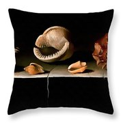 Six Shells On A Stone Shelf Throw Pillow