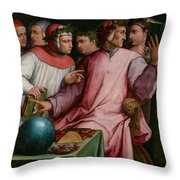 Six Tuscan Poets Throw Pillow by Giorgio Vasari