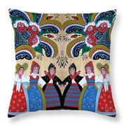 Six Women Dancing Throw Pillow