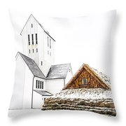 Skalholt Church Throw Pillow