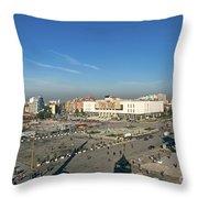 Skanderberg Square In Tirana Albania Throw Pillow