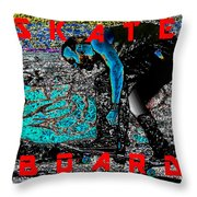 Skate Board Hi Low Red Letters Throw Pillow