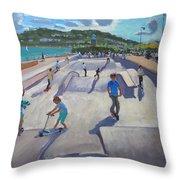 Skateboaders  Teignmouth Throw Pillow