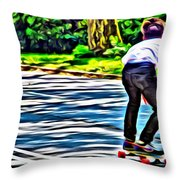 Skateboarder In Central Park Throw Pillow