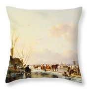 Skaters By A Booth On A Frozen River Throw Pillow