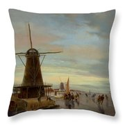 Skaters On A Frozen Waterway Throw Pillow
