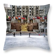 Skating At Rockefeller Plaza Throw Pillow
