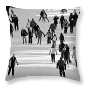 Skating In Black And White Throw Pillow