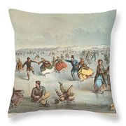 Skating In Central Park. New York Throw Pillow