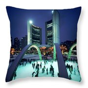 Skating In Nathan Phillips Square, City Throw Pillow by Peter Mintz