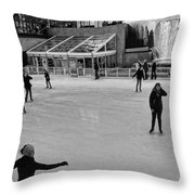 Skating In New York City Throw Pillow
