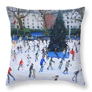 Skating  Natural History Museum Throw Pillow by Andrew Macara