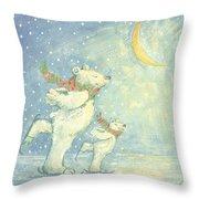 Skating Polar Bears Throw Pillow