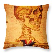 Skeleton And Heart Model Throw Pillow