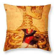Skeleton And Heart Model Throw Pillow by Garry Gay