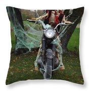 Skeleton Biker On Motorcycle  Throw Pillow
