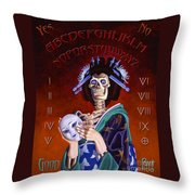 Skeleton Geisha Ouija Board Throw Pillow