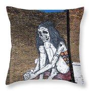 Skeleton Lady Throw Pillow