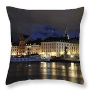 Skeppsbron At Night Throw Pillow