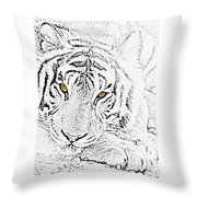 Sketch With Golden Eyes Throw Pillow