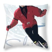 Ski 3 Throw Pillow