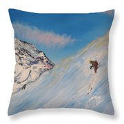 Ski Alaska Heli Ski Throw Pillow