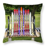Ski Bench - Fort Foster - Maine Throw Pillow