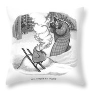 Ski Central Park Throw Pillow