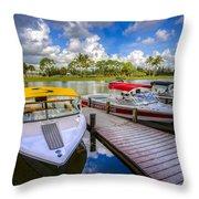 Ski Nautique Boats Throw Pillow